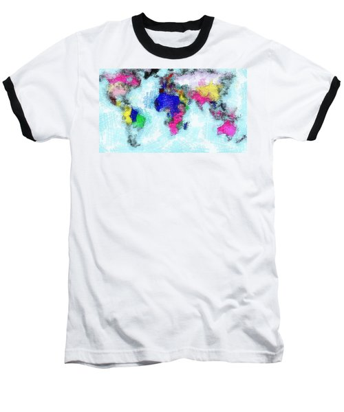 Digital Art Map Of The World Baseball T-Shirt