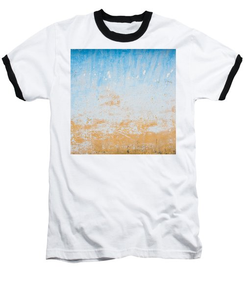 Dilapidated Beige And Blue Wall Texture Baseball T-Shirt