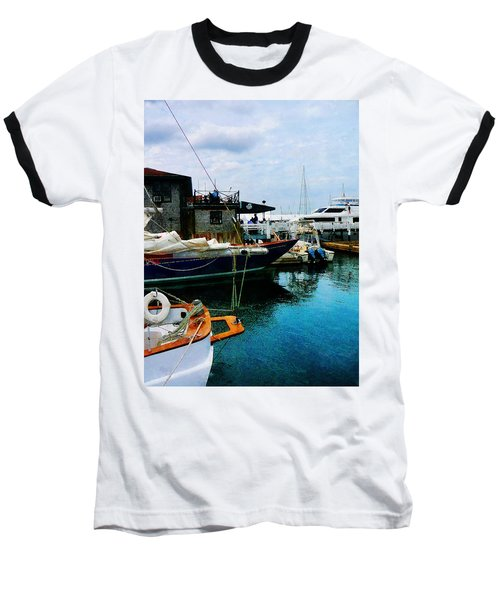 Baseball T-Shirt featuring the photograph Docked Boats In Newport Ri by Susan Savad