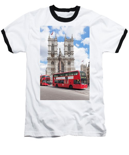 Double-decker Buses Passing Baseball T-Shirt by Panoramic Images