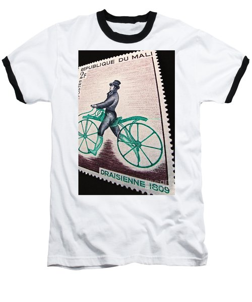 Baseball T-Shirt featuring the photograph Draisienne 1809 Vintage Postage Stamp Print by Andy Prendy