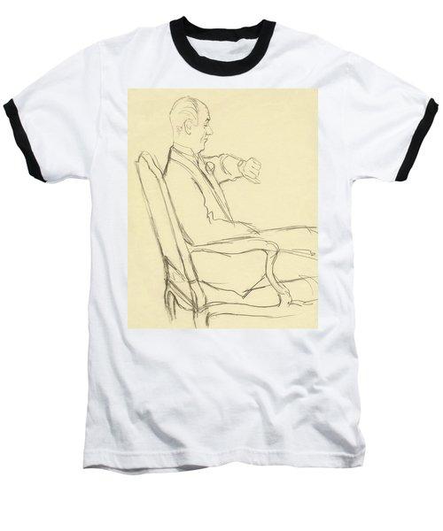 Drawing Of Man Looking At His Watch Baseball T-Shirt