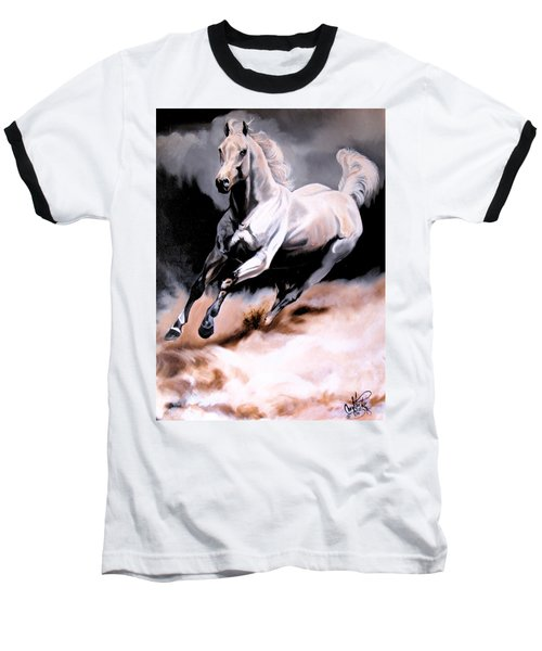 Dream Horse Series 20 - White Lighting Baseball T-Shirt by Cheryl Poland