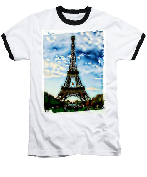 Dreamy Eiffel Tower Baseball T-Shirt by Kathy Churchman