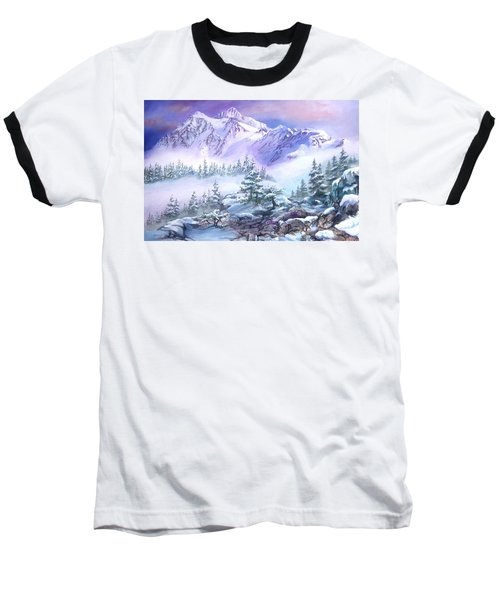 Baseball T-Shirt featuring the painting Dressed In White Mount Shuksan by Sherry Shipley