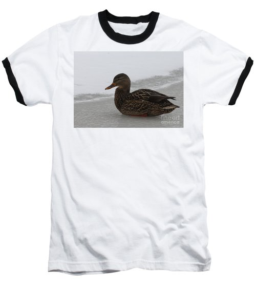 Baseball T-Shirt featuring the photograph Duck On Ice by John Telfer