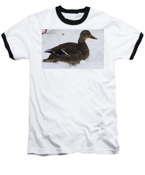 Baseball T-Shirt featuring the photograph Duck Playing In The Snow by John Telfer