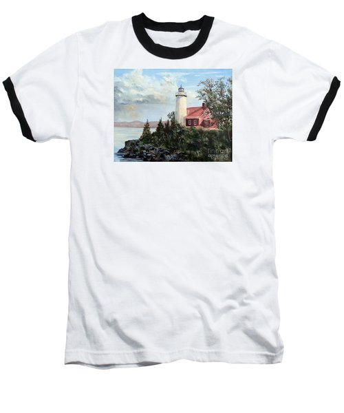 Eagle Harbor Light Baseball T-Shirt by Lee Piper