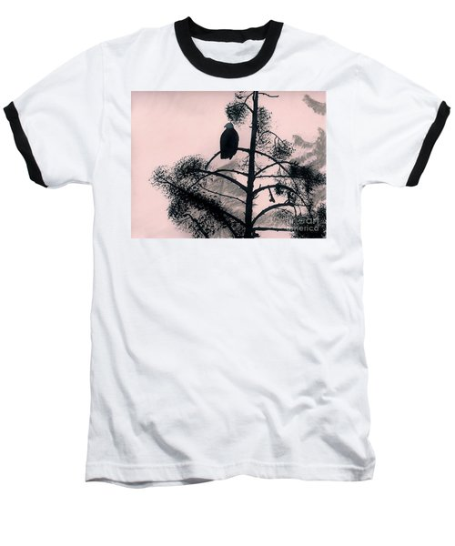 Baseball T-Shirt featuring the drawing Eagle In Pink Sky by D Hackett