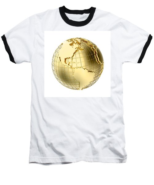 Earth In Gold Metal Isolated On White Baseball T-Shirt by Johan Swanepoel