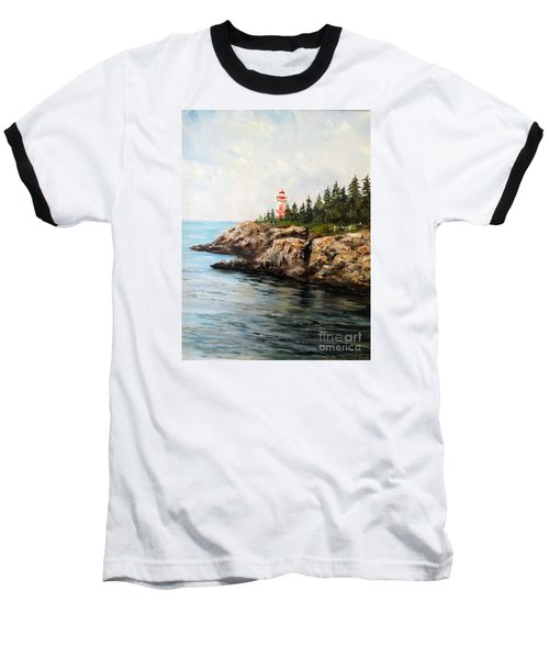 Baseball T-Shirt featuring the painting East Quoddy Head Light by Lee Piper