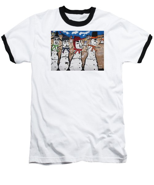 Easter Island Snow Men Baseball T-Shirt by Jeffrey Koss