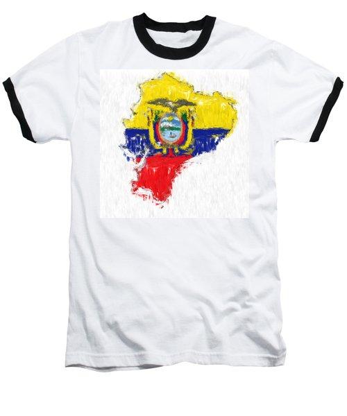 Ecuador Painted Flag Map Baseball T-Shirt by Antony McAulay