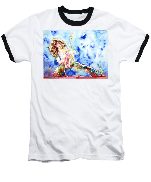 Eddie Van Halen Playing The Guitar.1 Watercolor Portrait Baseball T-Shirt by Fabrizio Cassetta