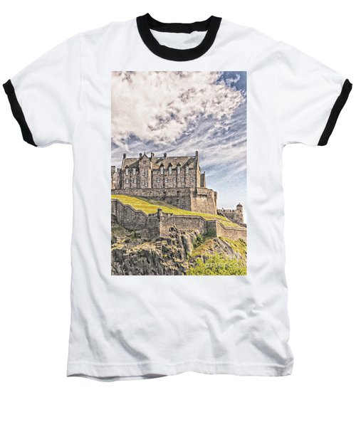 Edinburgh Castle Painting Baseball T-Shirt