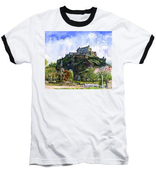 Edinburgh Castle Scotland Baseball T-Shirt by John D Benson