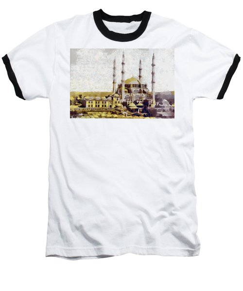 Baseball T-Shirt featuring the painting Edirne Turkey Old Town by Georgi Dimitrov