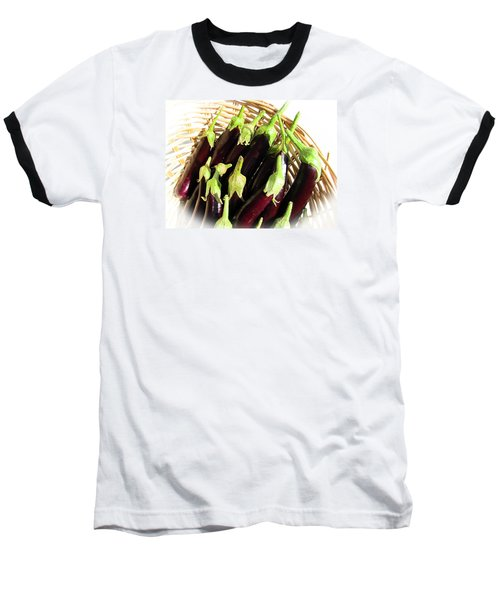 Baseball T-Shirt featuring the photograph Eggplants In A Basket by Tina M Wenger