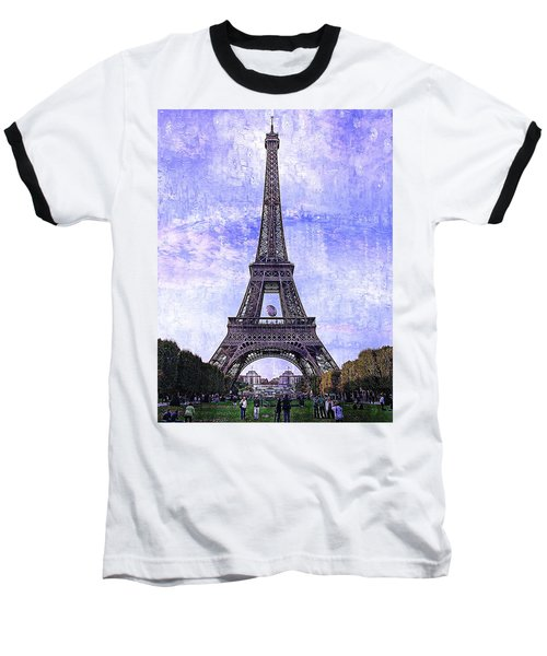 Eiffel Tower Paris Baseball T-Shirt by Kathy Churchman