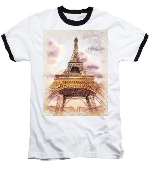 Baseball T-Shirt featuring the painting Eiffel Tower Vintage Art by Irina Sztukowski