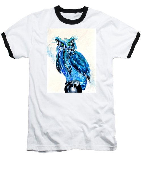 Baseball T-Shirt featuring the painting Electric Blue Owl by Beverley Harper Tinsley