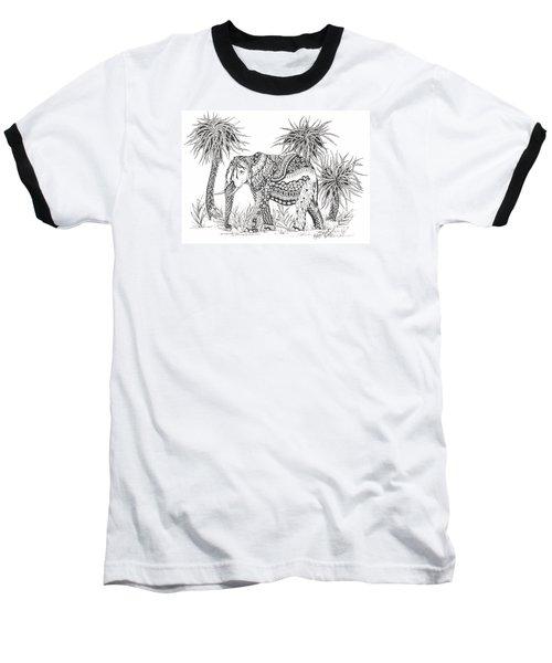 Elephant And Trees Zentangled Baseball T-Shirt
