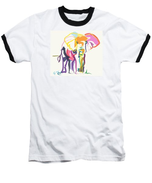 Baseball T-Shirt featuring the painting Elephant In Color Ecru by Go Van Kampen