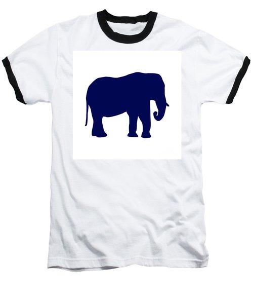 Elephant In Navy And White Baseball T-Shirt