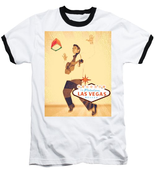 Elvis On Tv Baseball T-Shirt