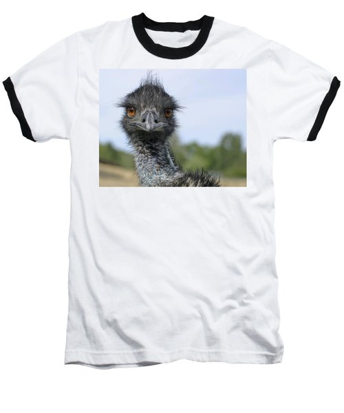Baseball T-Shirt featuring the photograph Emu Gaze by Belinda Greb