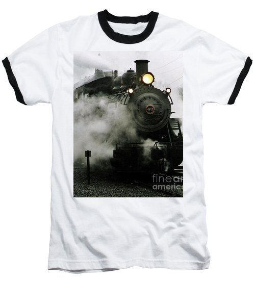 Engine Number 40 Making Steam Pulling Into New Hope Passenger Train Terminal Baseball T-Shirt by Michael Hoard
