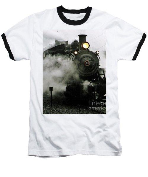Engine Number 40 Making Steam Pulling Into New Hope Passenger Train Terminal Baseball T-Shirt