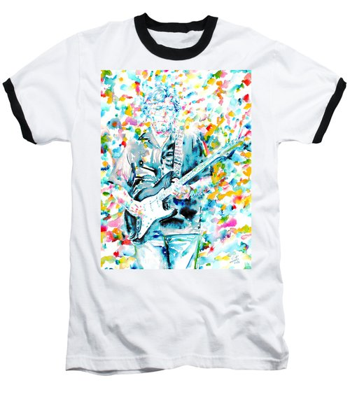 Eric Clapton - Watercolor Portrait Baseball T-Shirt by Fabrizio Cassetta