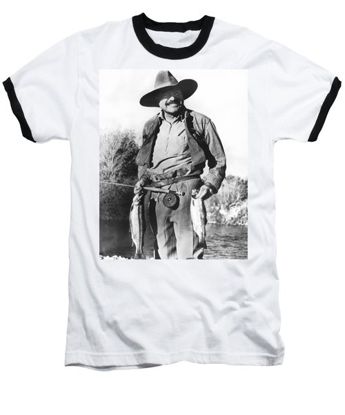 Ernest Hemingway Fishing Baseball T-Shirt