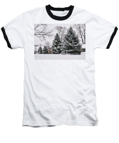 Evergreens In The Snow Baseball T-Shirt