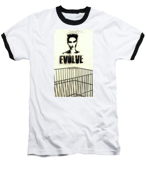 Evolution Gone Wrong Baseball T-Shirt by Joe Jake Pratt