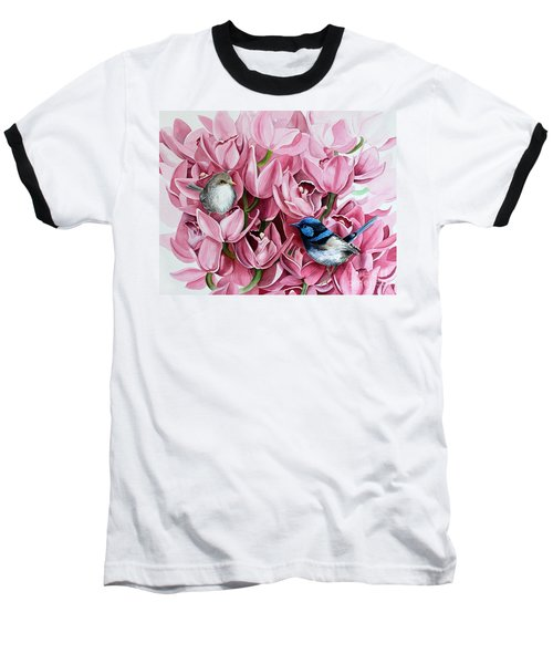 Fairy Wrens And Orchids Baseball T-Shirt