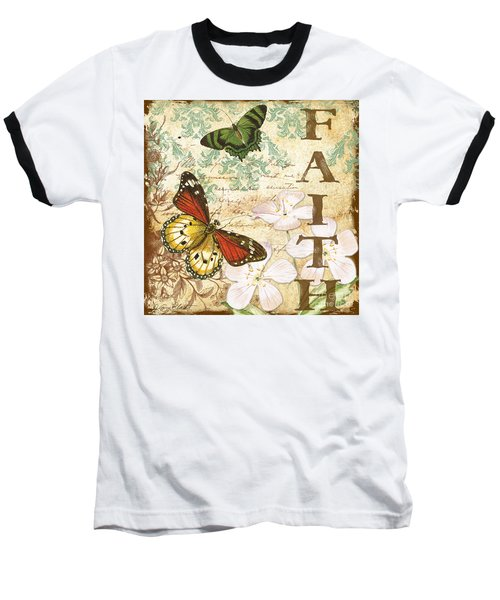 Faith And Butterflies Baseball T-Shirt