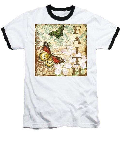 Faith And Butterflies Baseball T-Shirt