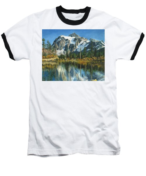 Fall Reflections - Cascade Mountains Baseball T-Shirt by Mary Ellen Anderson