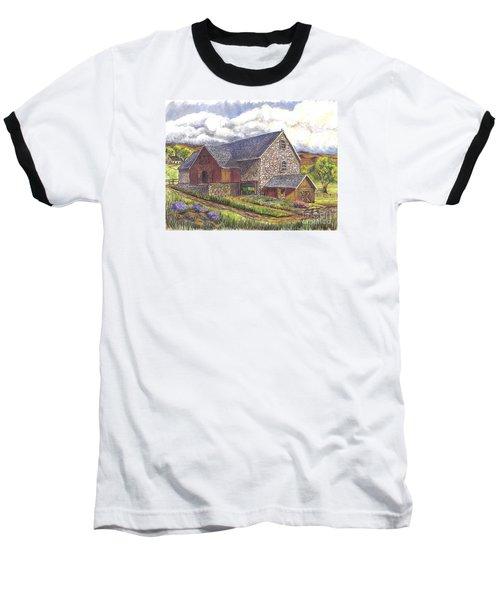 Baseball T-Shirt featuring the drawing A Scottish Farm  by Carol Wisniewski