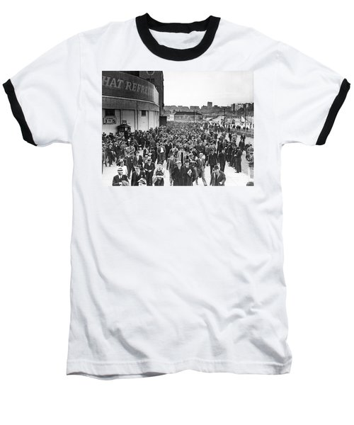 Fans Leaving Yankee Stadium. Baseball T-Shirt by Underwood Archives