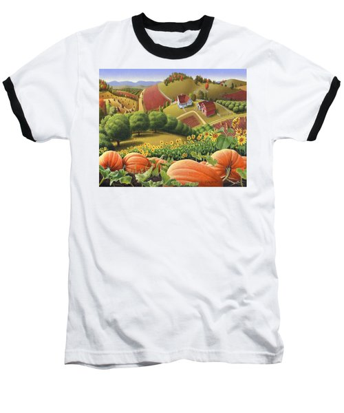 Farm Landscape - Autumn Rural Country Pumpkins Folk Art - Appalachian Americana - Fall Pumpkin Patch Baseball T-Shirt