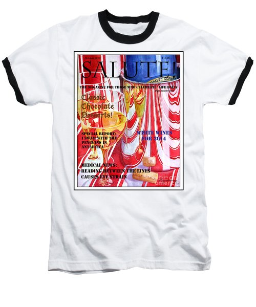 Baseball T-Shirt featuring the painting Faux Magazine Cover by Mariarosa Rockefeller