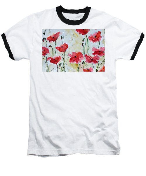 Baseball T-Shirt featuring the painting Feel The Summer 1 - Poppies by Ismeta Gruenwald