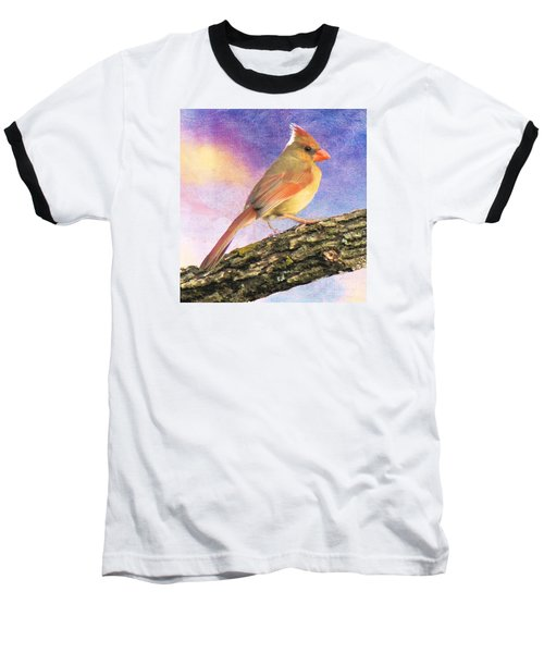 Female Cardinal Away From Sun Baseball T-Shirt by Janette Boyd