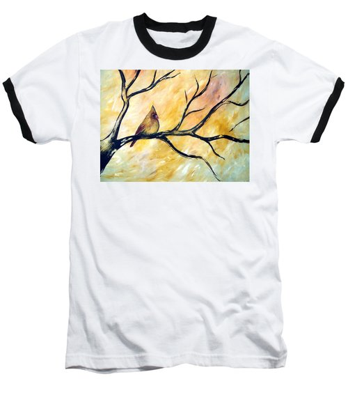 Baseball T-Shirt featuring the painting Female Cardinal by Cynthia Amaral