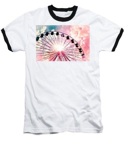 Ferris Wheel In Pink And Blue Baseball T-Shirt