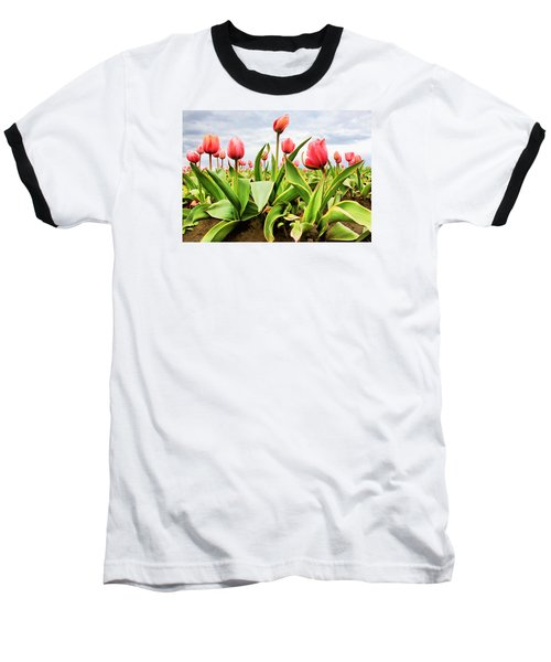 Baseball T-Shirt featuring the photograph Field Of Pink Tulips by Athena Mckinzie