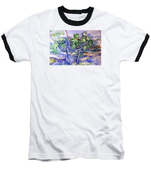 Baseball T-Shirt featuring the painting Fig Tree And Olive Trees In A Tuscan Garden by Trudi Doyle